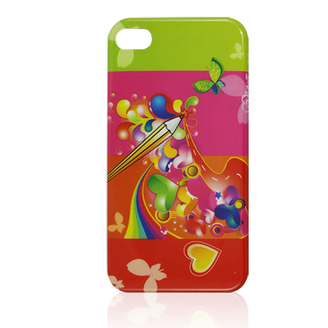 Butterfly Heart Pattern Colorful Hard Plastic IMD Back Case for iPhone 4 4G 4S