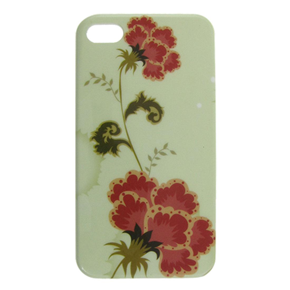 Hard Plastic Flower Pattern IMD Back Case Green for iPhone 4 4G 4S
