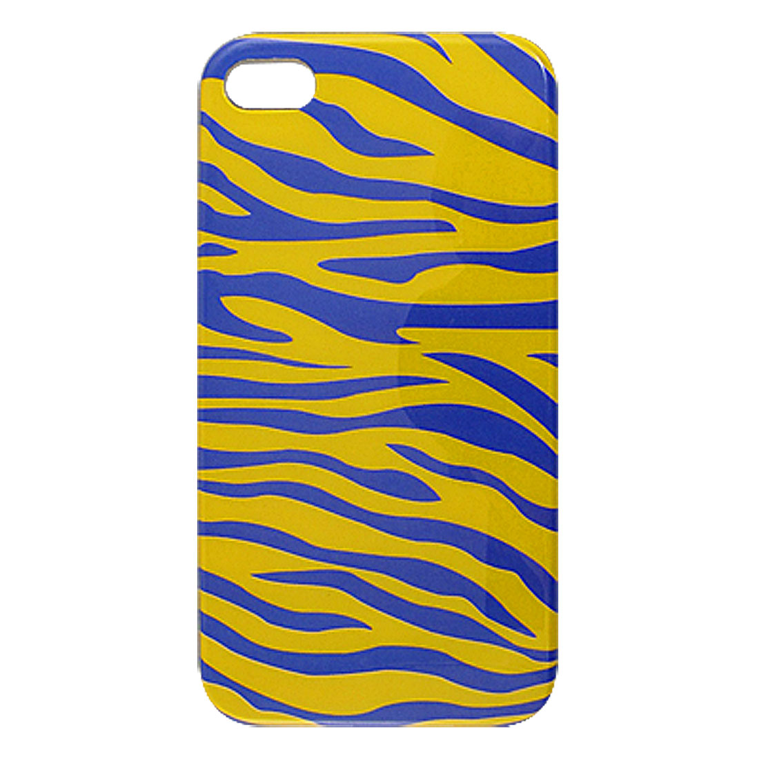Blue Yellow Zebra Print Hard Plastic Back Case Cover for iPhone 4 4S 4G 4GS