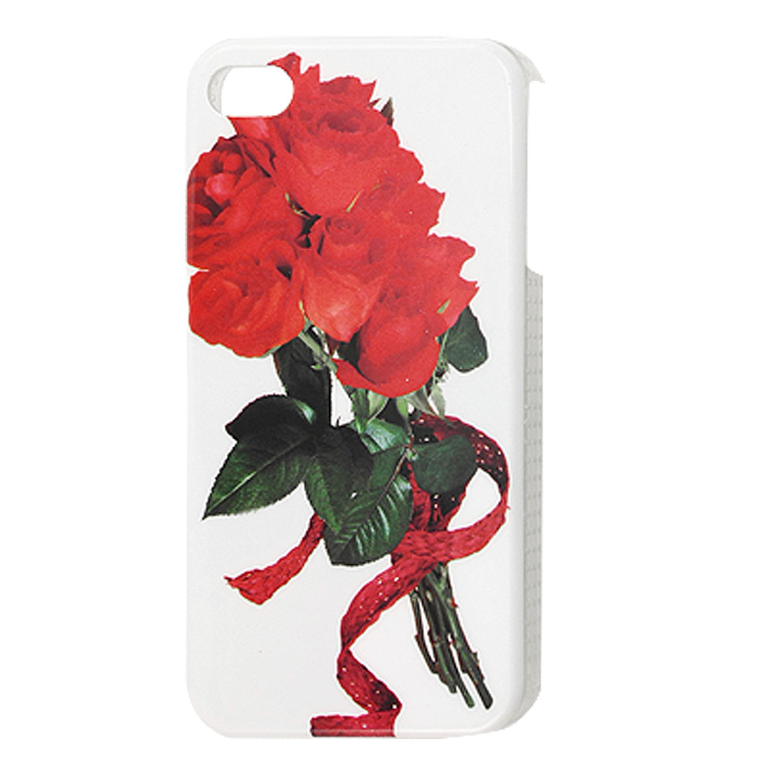 Red Rose Pattern Hard Plastic IMD Back Cover Case for iPhone 4 4G 4S