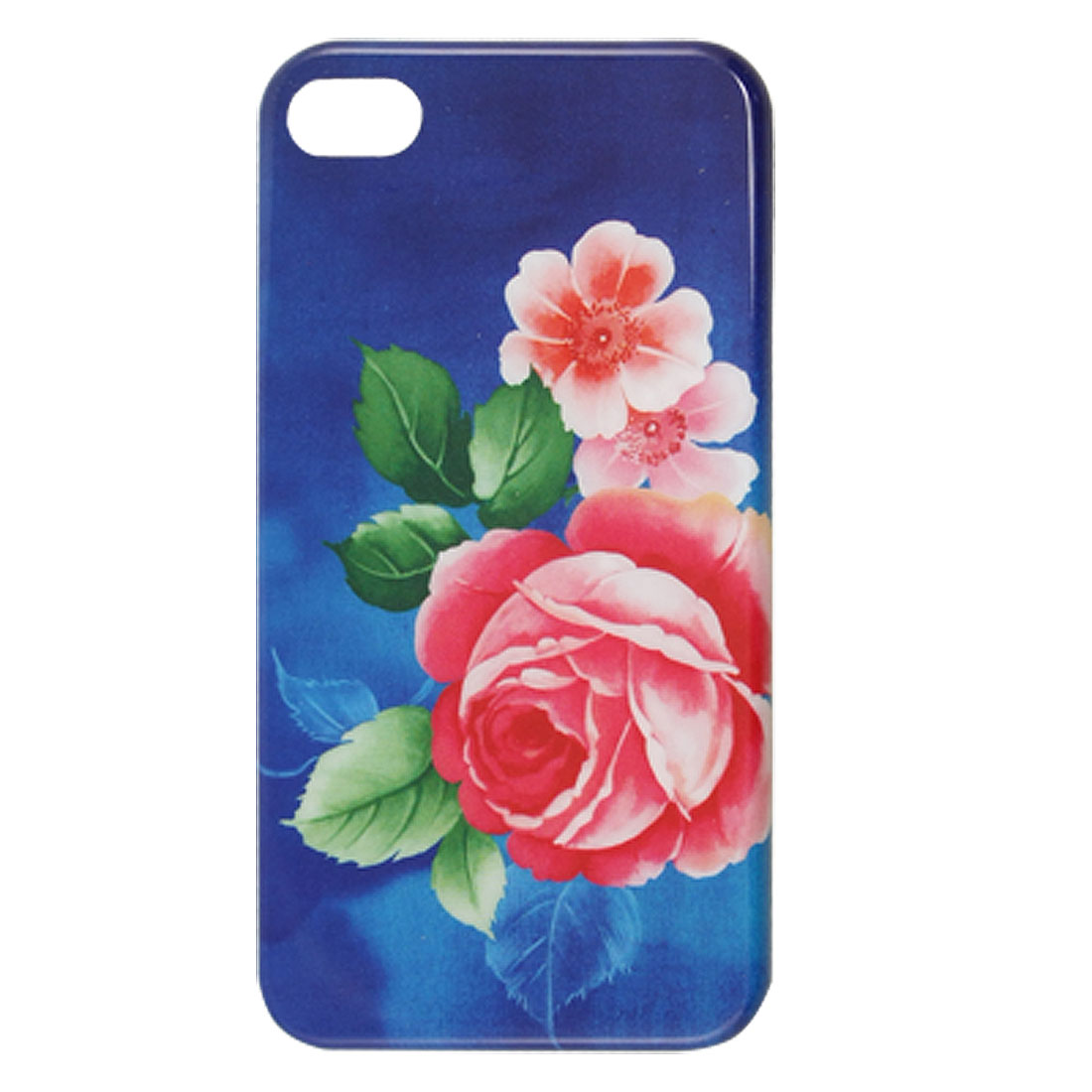 IMD Rose Print Blue Hard Plastic Back Shell for iPhone 4 4G 4S