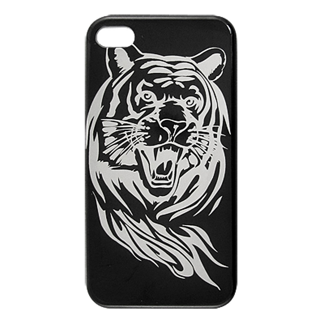 Black Silver Tone Hard Tiger Print Back Case Cover for iPhone 4 4S 4G 4GS