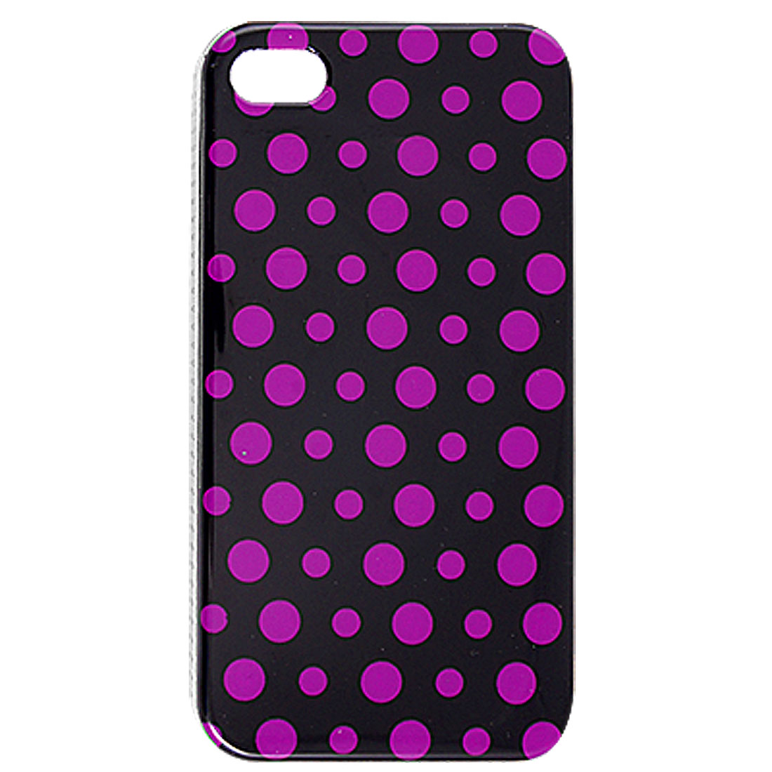 IMD Fuchsia Dots Pattern Hard Plastic Back Shell Black for iPhone 4 4G 4S