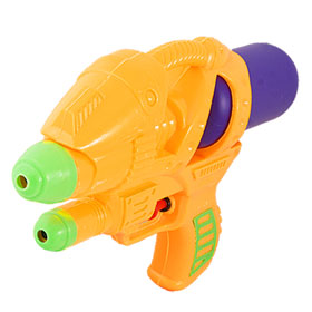 Removable Purple Tank Dual Nozzle Plastic Hand Water Squirt Gun Pistol Toy 9""
