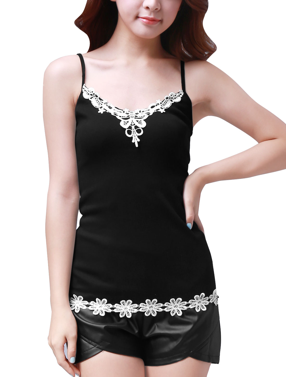 Lace Scoop Neck Black Stretchy Pullover Tank Top XS for Women