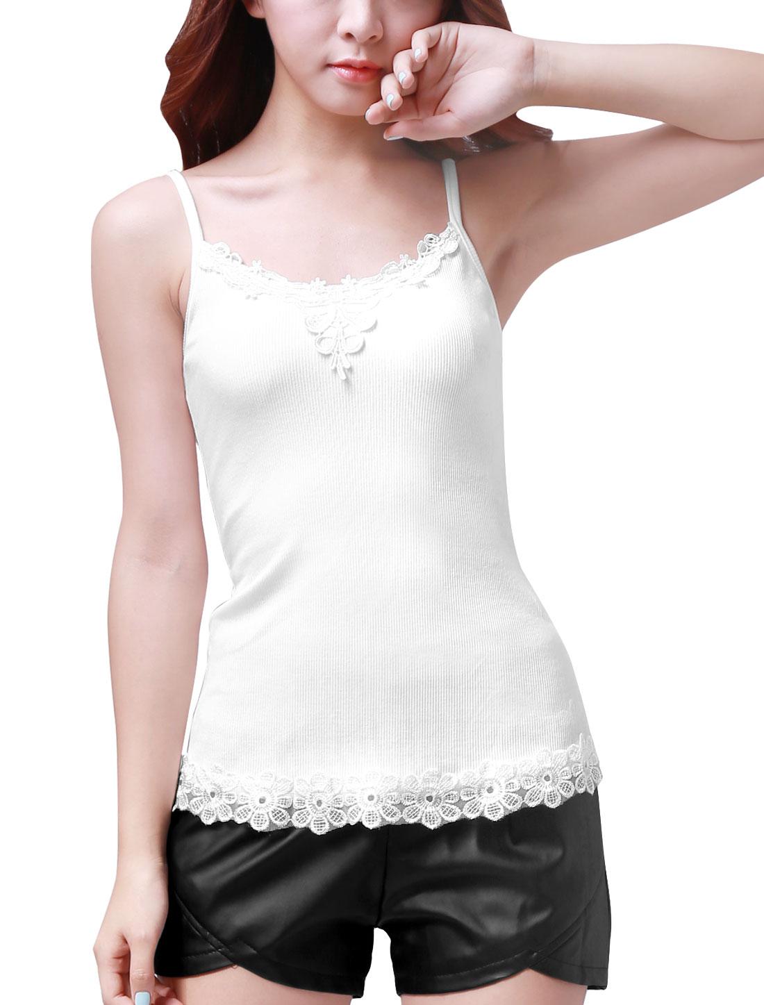 Scoop Neck Sleeveless White Ribbing Tank Top XS for Women