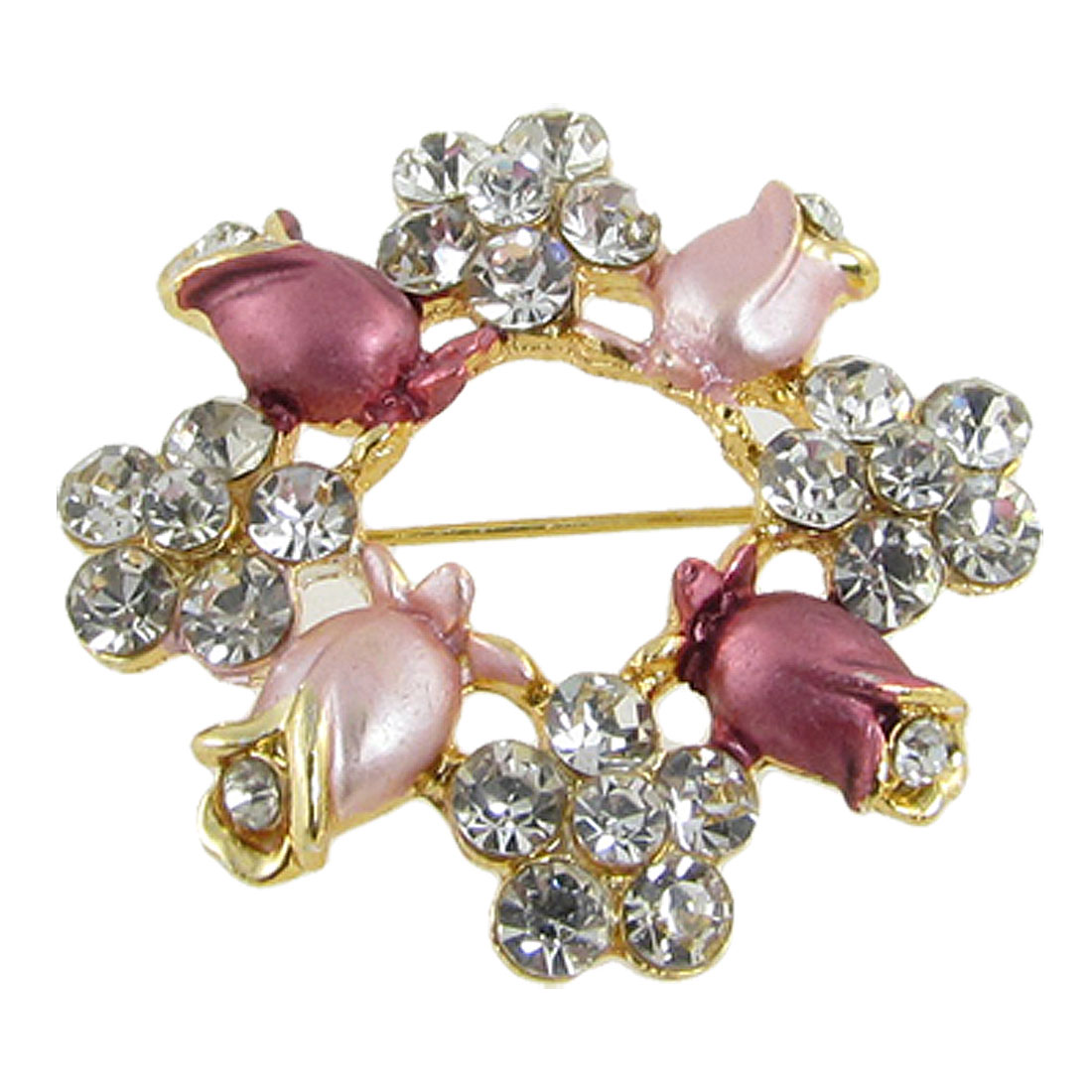 """Woman Pink Red Bling Bling Flower Rose Circle Safety Pin Brooch 1.4""""x0.3"""""""