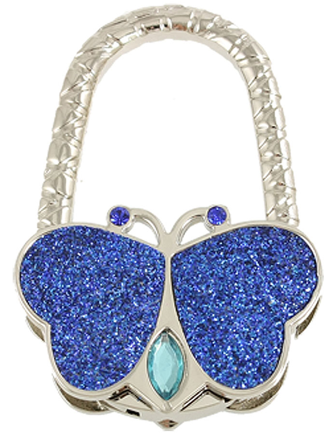 Plastic Rhinestone Accent Blue Butterfly Style Hanger Handbag Hook