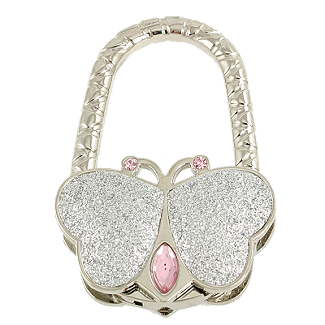 Silver Tone Glitter Powder Accent Butterfly Handbag Hook Purse Hanger