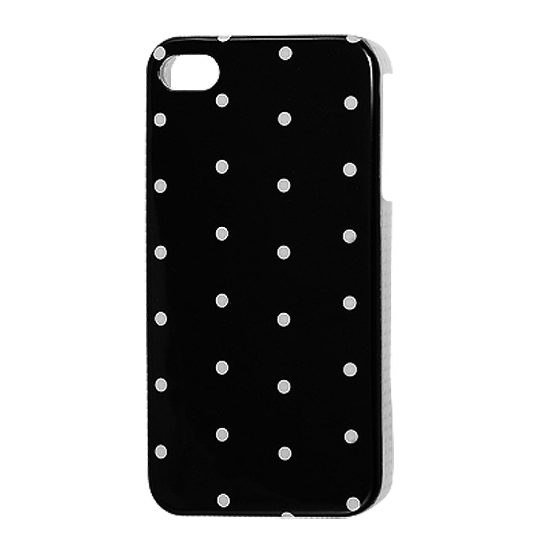 IMD White Dots Accent Black Plastic Back Cover for iPhone 4 4G 4S