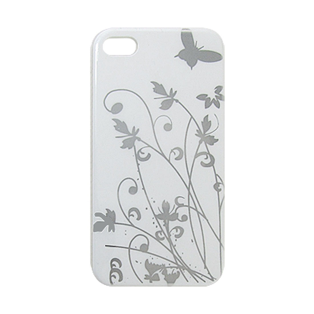 Silver Tone Plant Print IMD Back Case Cover White for iPhone 4 4G 4S
