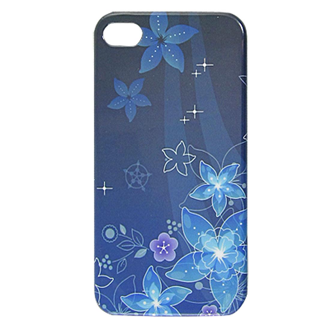 Blue Flower Print Hard Plastic IMD Back Cover Case for iPhone 4 4G 4S 4GS