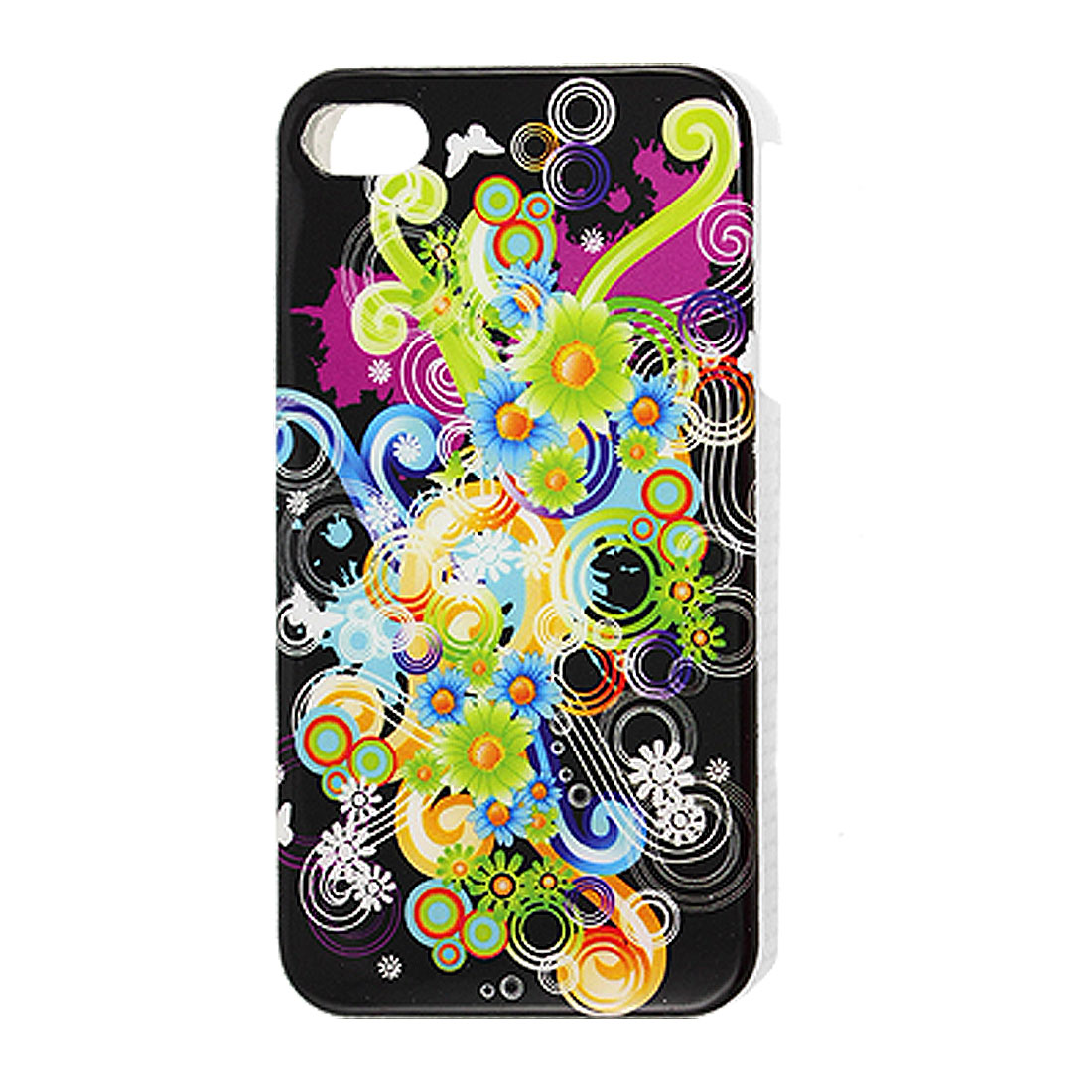 Colorful Floral Bubbles Pattern Hard Plastic IMD Back Case for iPhone 4 4G 4S