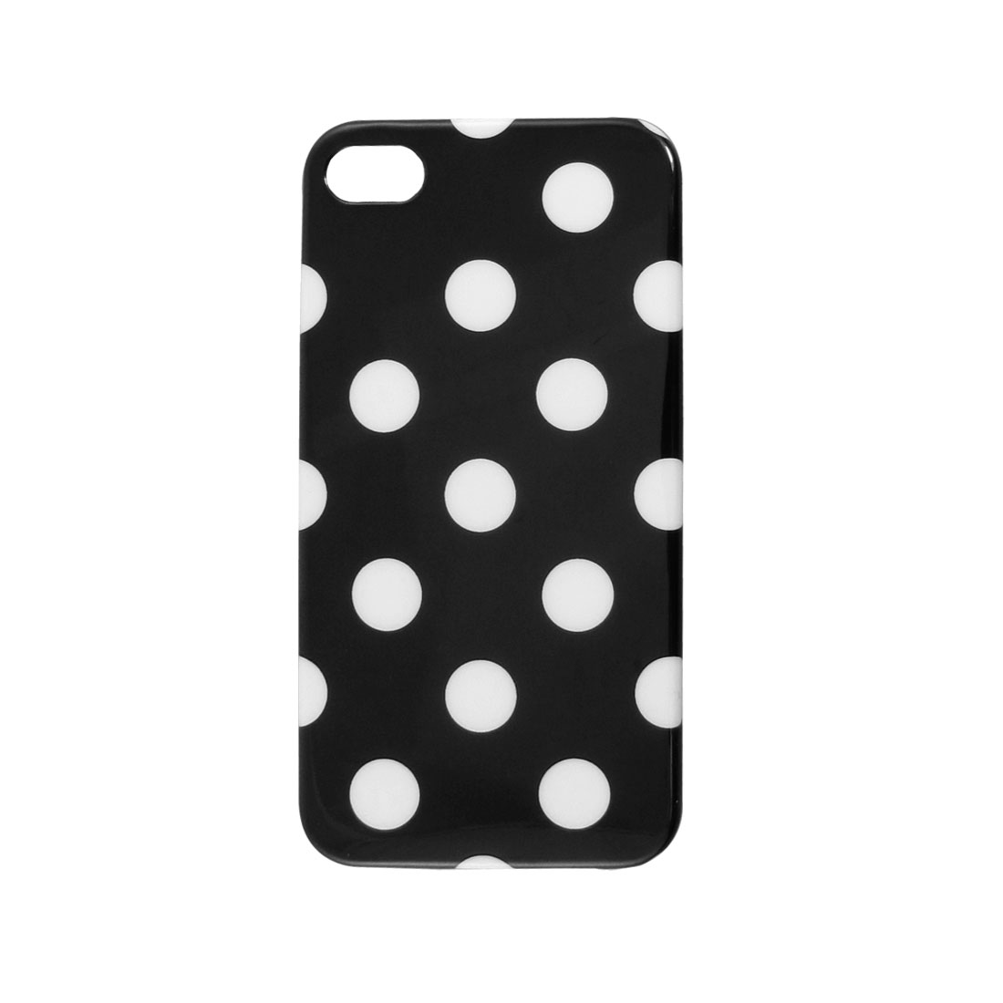 IMD White Dots Decor Black Hard Plastic Back Shell Case Cover for iPhone 4 4G 4S