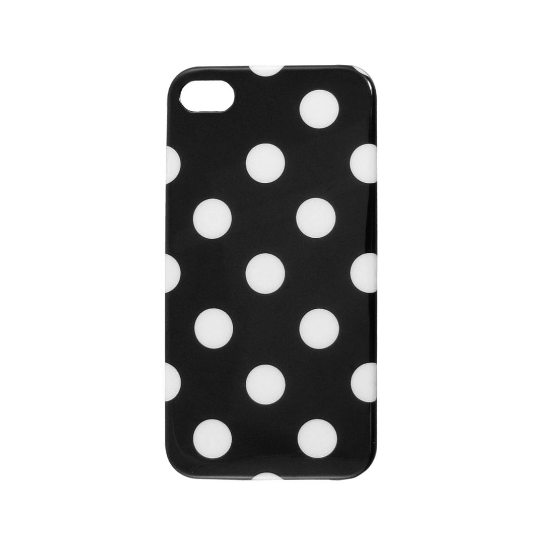IMD White Dots Decor Black Hard Plastic Back Shell Case Cover for iPhone 4 4G 4S