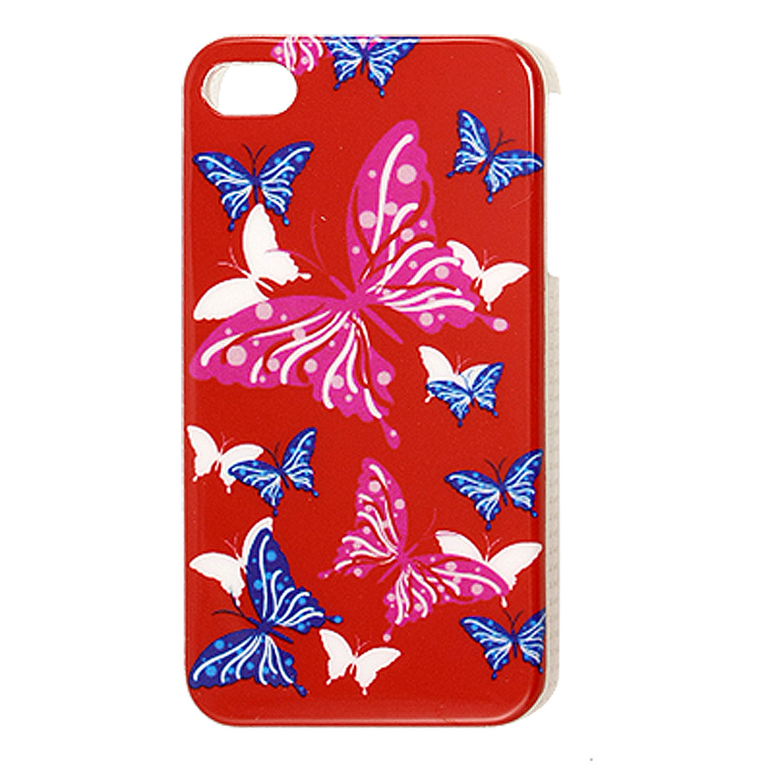 Butterfly Printed Red Plastic IMD Back Cover Case for iPhone 4 4G 4S