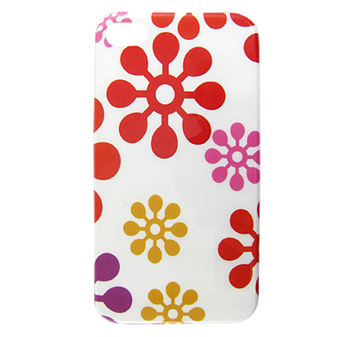 Flower Pattern IMD Hard Plastic Protective Back Case Shell White for iPhone 4 4G 4S