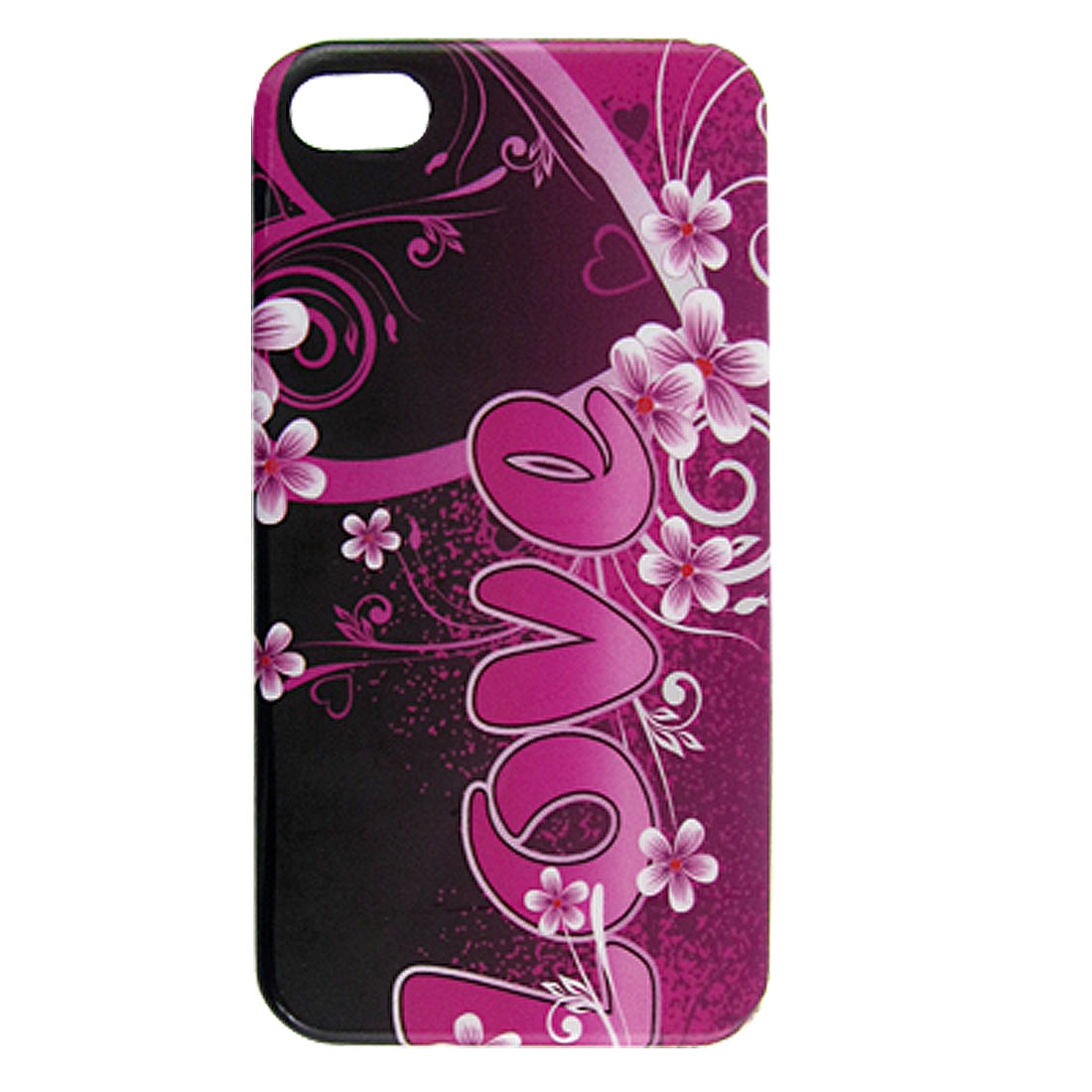 Magenta Floral Love Printed Hard IMD Plastic Back Case for iPhone 4 4G 4GS 4S