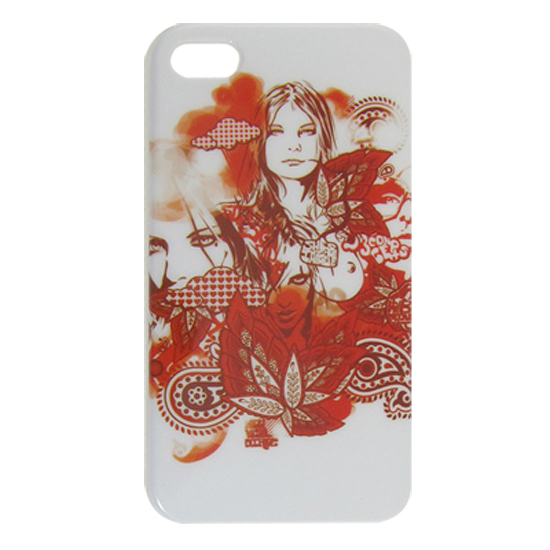 Woman Print Hard Plastic IMD Back Shell Cover Red White for iPhone 4 4S