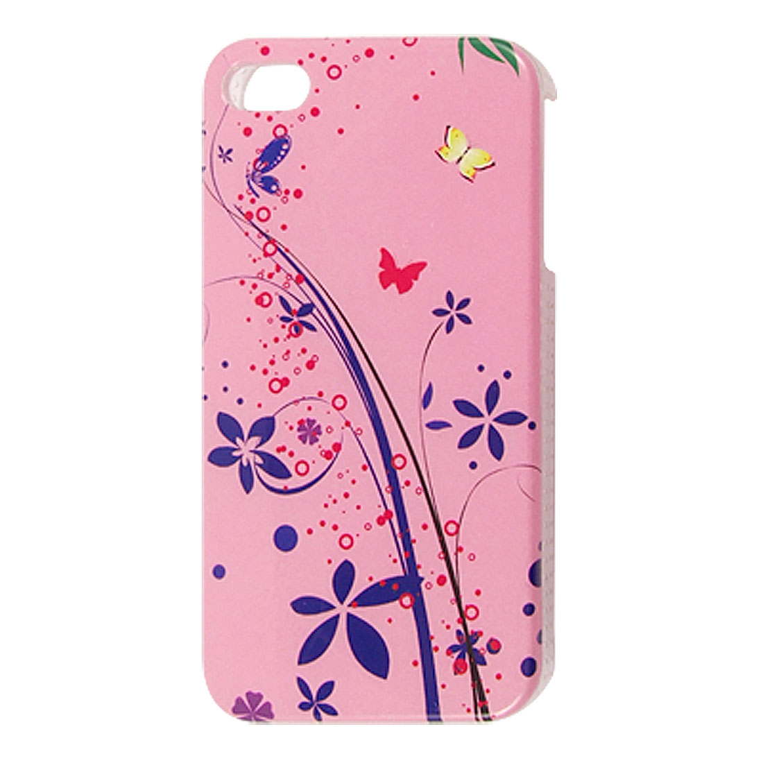IMD Flower Pattern Pink Hard Plastic Shell Cover for iPhone 4 4G 4S
