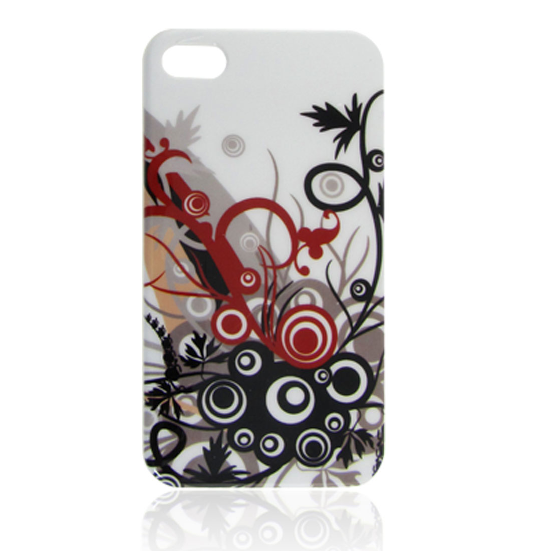 Black Red Flowery Printed Hard IMD Plastic Back Cover Case White for iPhone 4 4G 4GS 4S