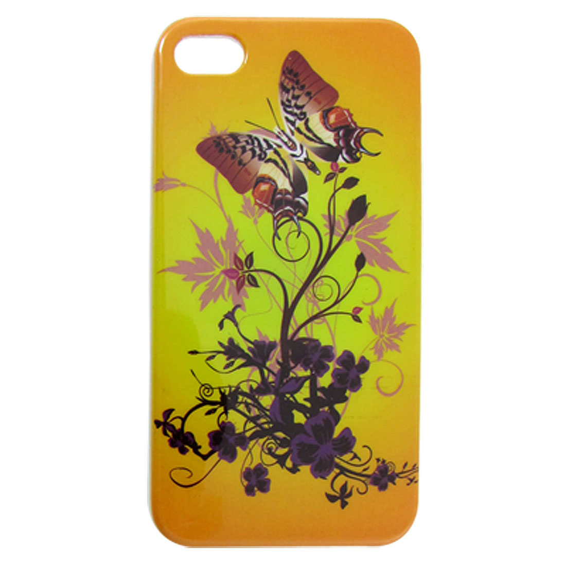 IMD Flower Butterfly Pattern Hard Plastic Back Case for iPhone 4 4G 4S