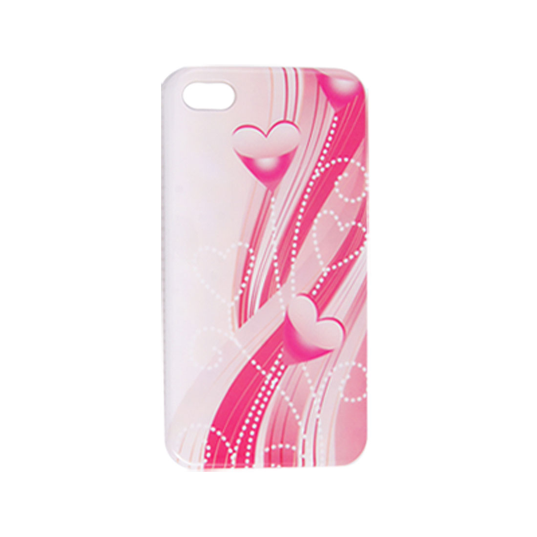 IMD Heart Striped Pattern Plastic Back Case White Pink for iPhone 4 4G 4S