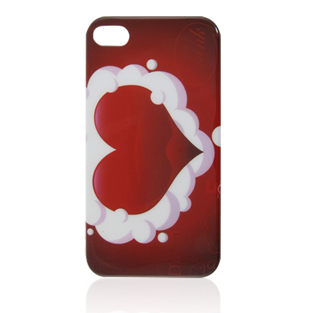 Red Heart Pattern IMD Hard Plastic Protective Back Cover for iPhone 4 4G 4S
