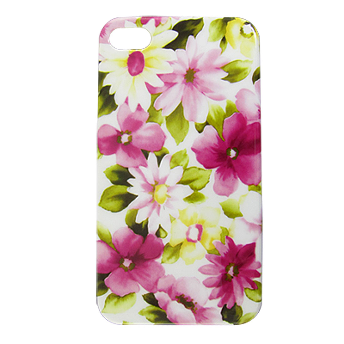 Hard Plastic IMD Pink Flowery Print Back Case for iPhone 4 4G 4S