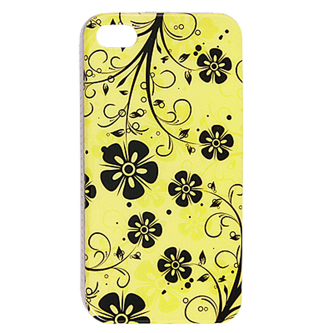 Black Flower Pattern IMD Yellow Plastic Base Case for iPhone 4 4G 4S