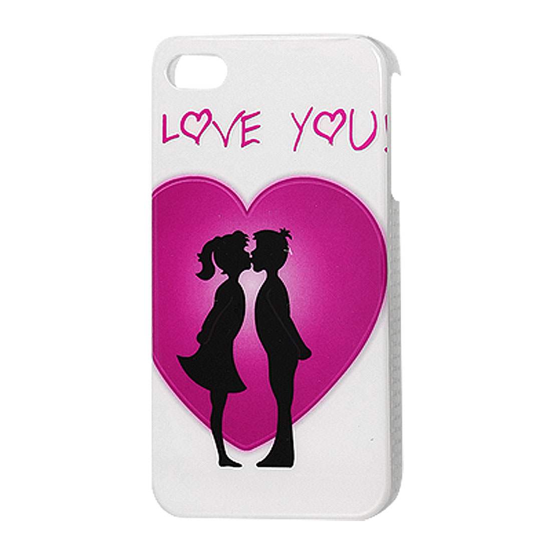 Kissing Lovers Pattern White Hard Plastic IMD Back Case for iPhone 4 4G 4S