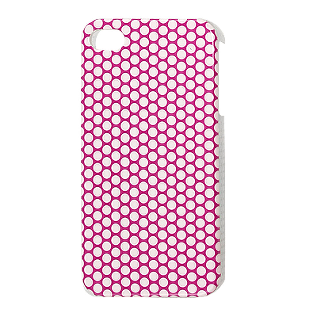 IMD Mini White Dots Decor Fuchsia Plastic Back Case for iPhone 4 4G 4S