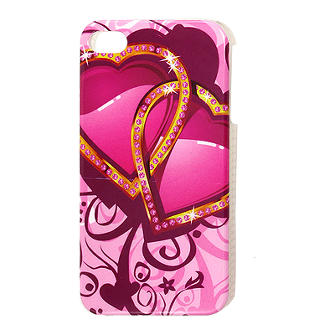 Double Heart Pattern Smooth Plastic IMD Back Case for iPhone 4 4G 4S