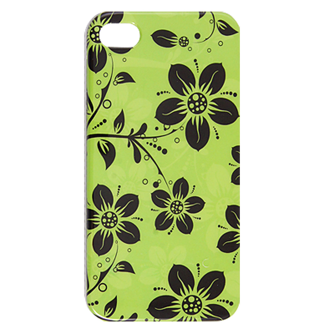 Black Flower Vector Printed IMD Plastic Back Shell Green for iPhone 4 4G 4S