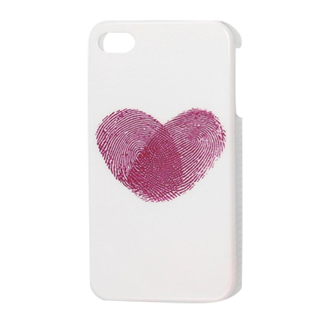 Amaranth Fingerprint Heart White Hard Plastic IMD Back Case for iPhone 4 4G 4S