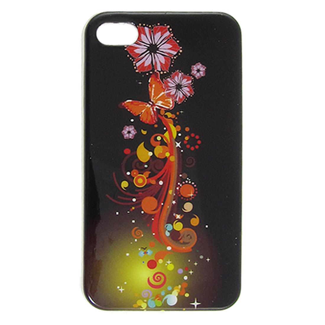 Colorful Flower Butterfly Print IMD Black Plastic Back Case for iPhone 4 4G 4GS
