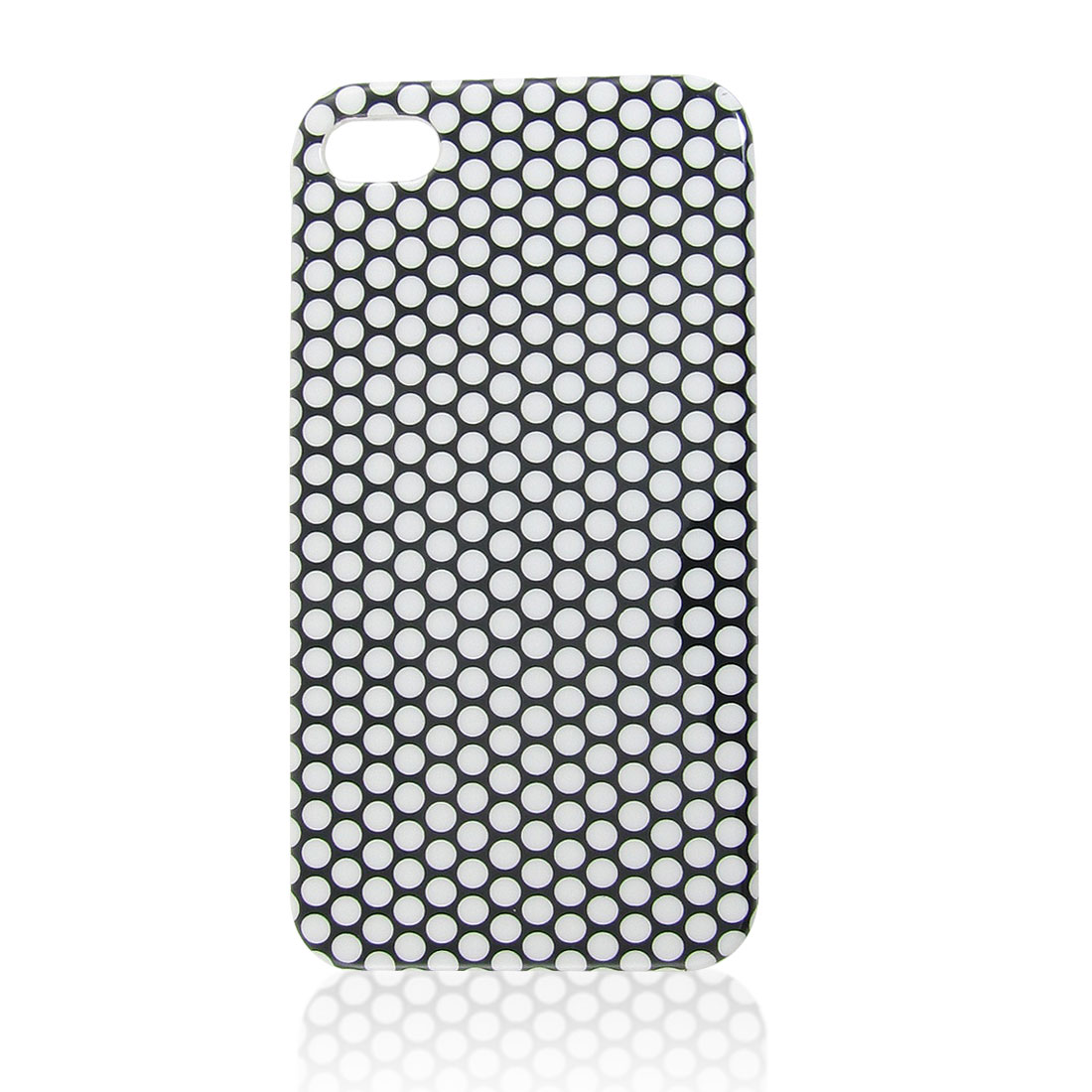 White Dotted Pattern IMD Hard Plastic Smooth Back Cover for iPhone 4 4G 4S