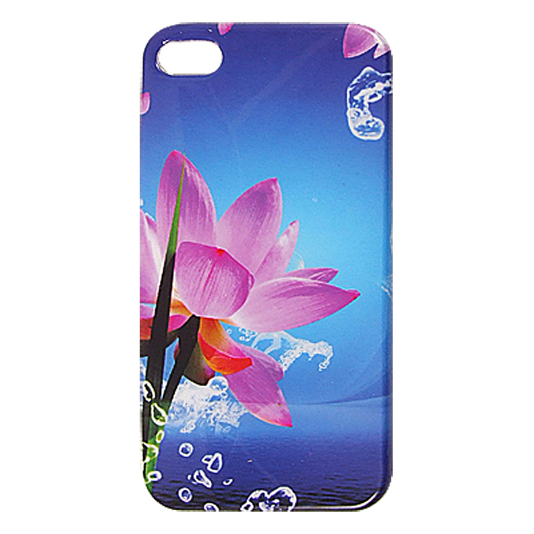 Blue Purple IMD Flower Print Hard Plastic Guard Cover for iPhone 4 4G 4S