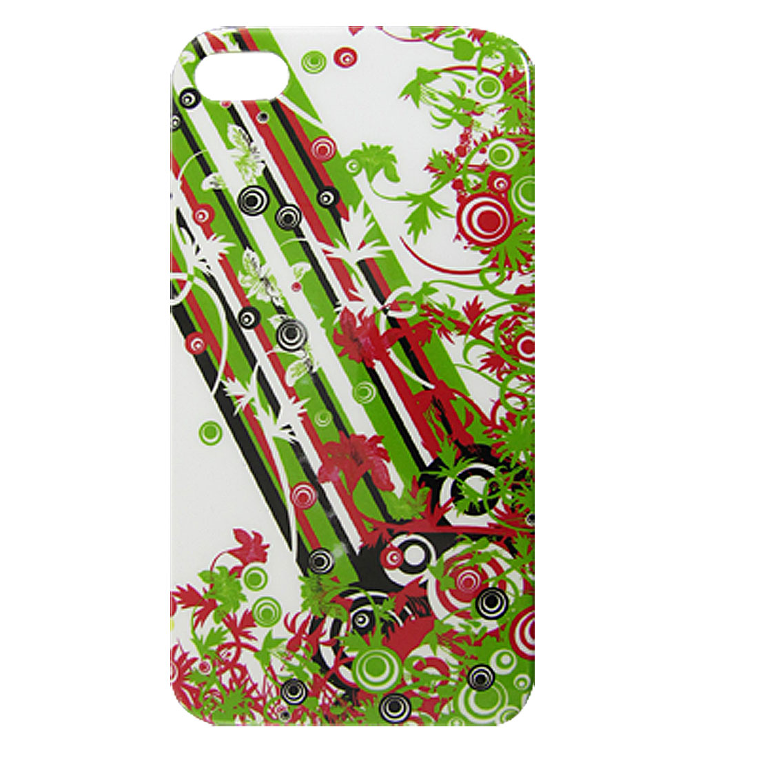 Green Stripe Circle Flower Print White IMD Hard Back Case Shell for iPhone 4 4G 4S