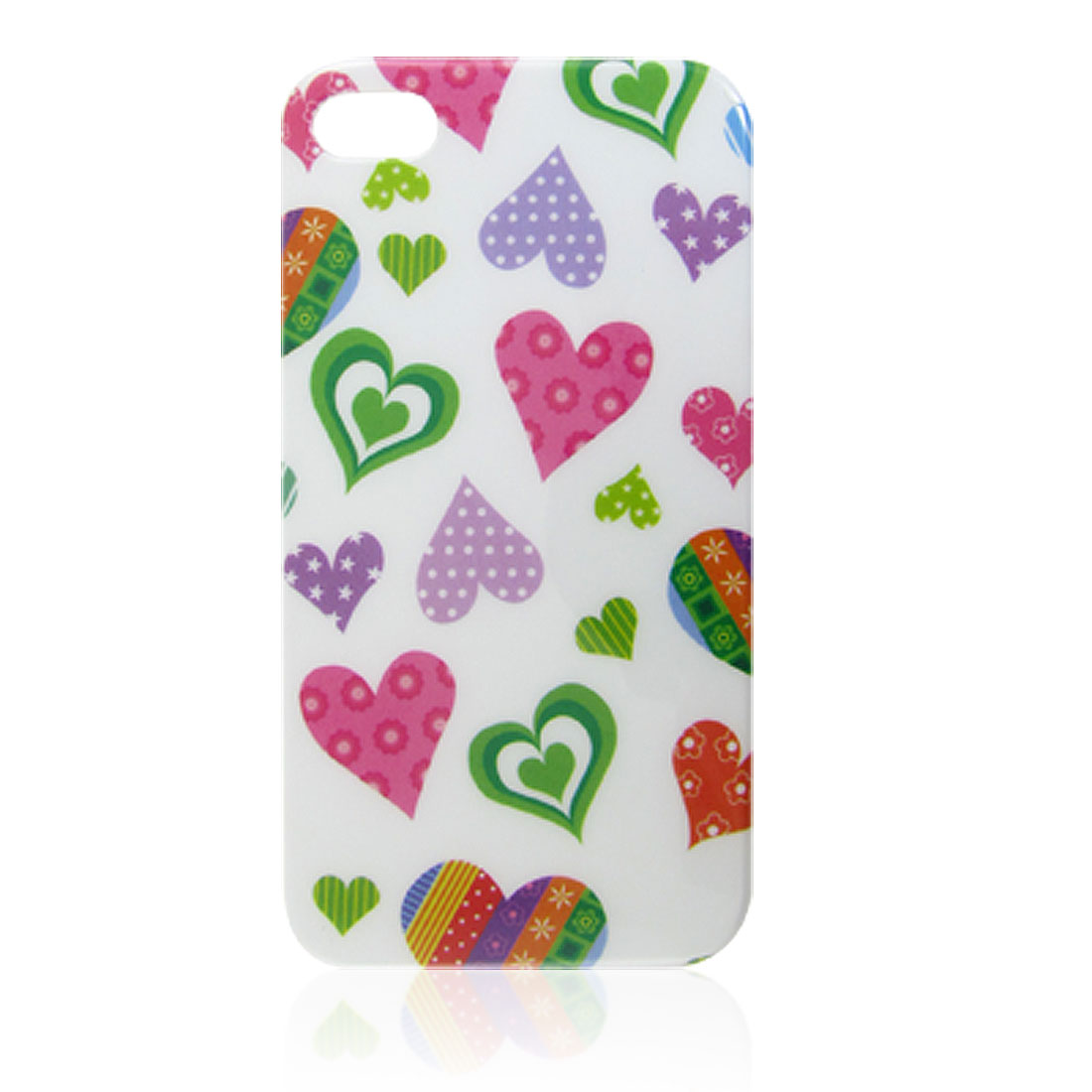 Colorful Hearts Pattern IMD Hard Plastic Back Cover for iPhone 4 4G 4S