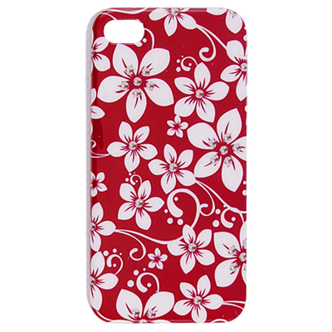 IMD White Flower Prints White Hard Plastic Back Case for iPhone 4 4G 4S