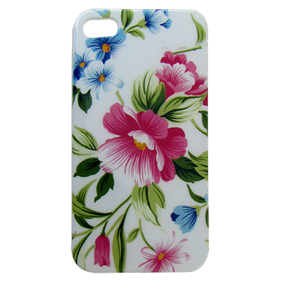 Protective Flower Leaves Print IMD Back Case White for iPhone 4 4G 4S