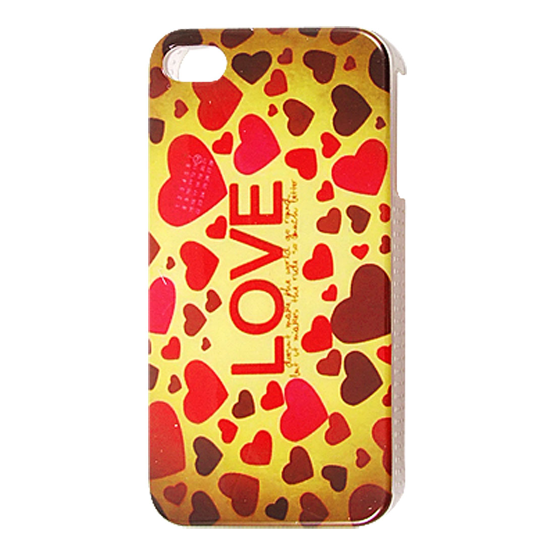 Red IMD Heart Print Hard Plastic Back Case for iPhone 4 4G 4S