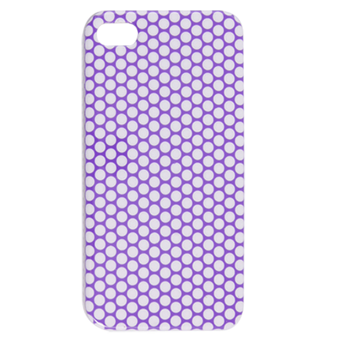 IMD Purple Dots Pattern White Hard Plastic Back Case for iPhone 4 4G 4S