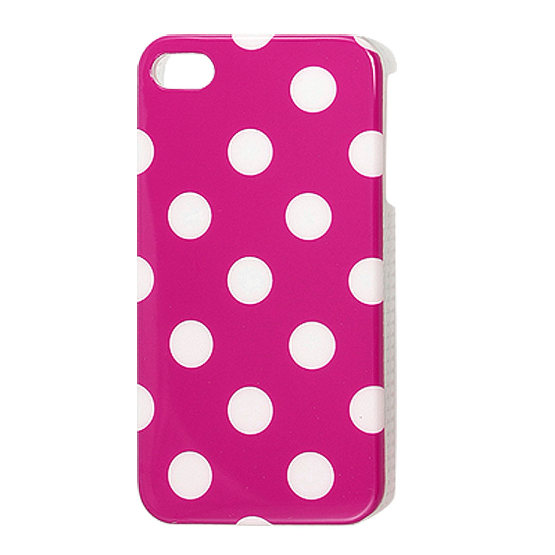 Plastic IMD White Dotted Hard Back Cover Case Fuchsia for iPhone 4 4G 4S