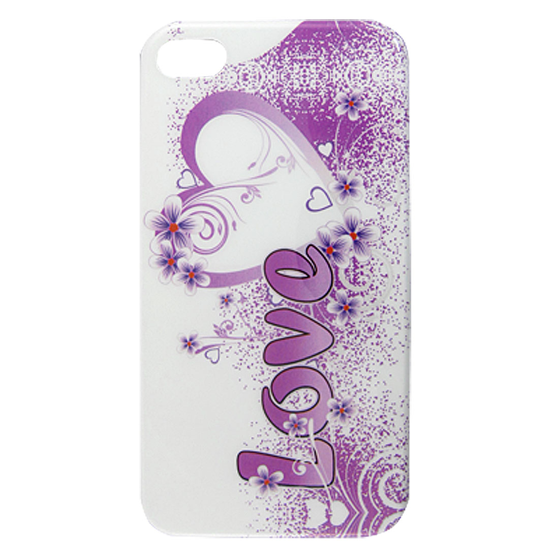 IMD Purple Heart Flower Print White Hard Back Shell Case for iPhone 4 4G 4S 4GS