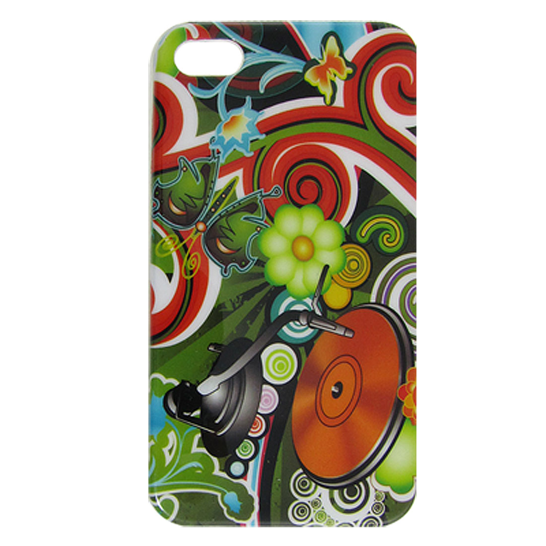 IMD Colorful Phonograph Flower Print Plastic Back Case for iPhone 4 4G 4GS