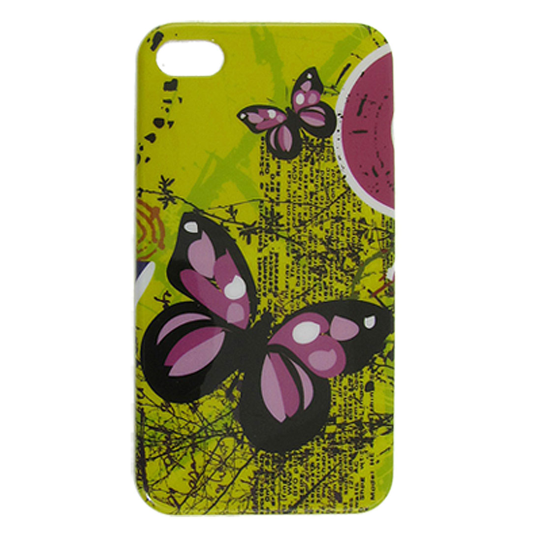 Butterfly Tree Pattern IMD Yellow Hard Plastic Back Shell for iPhone 4 4G 4GS