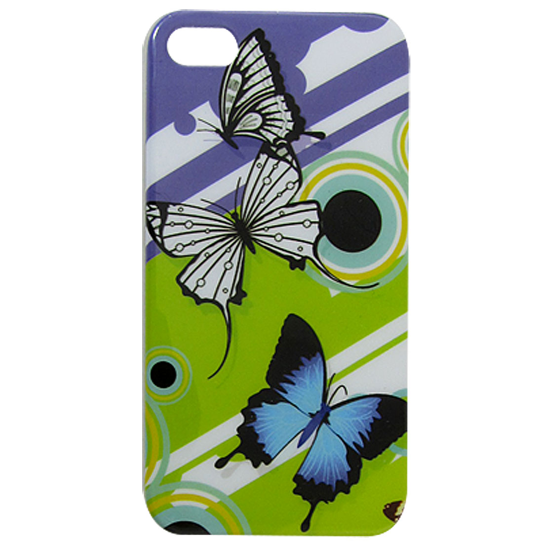 Green Purple IMD Hard Plastic Butterflies Printed Back Case for iPhone 4 4G