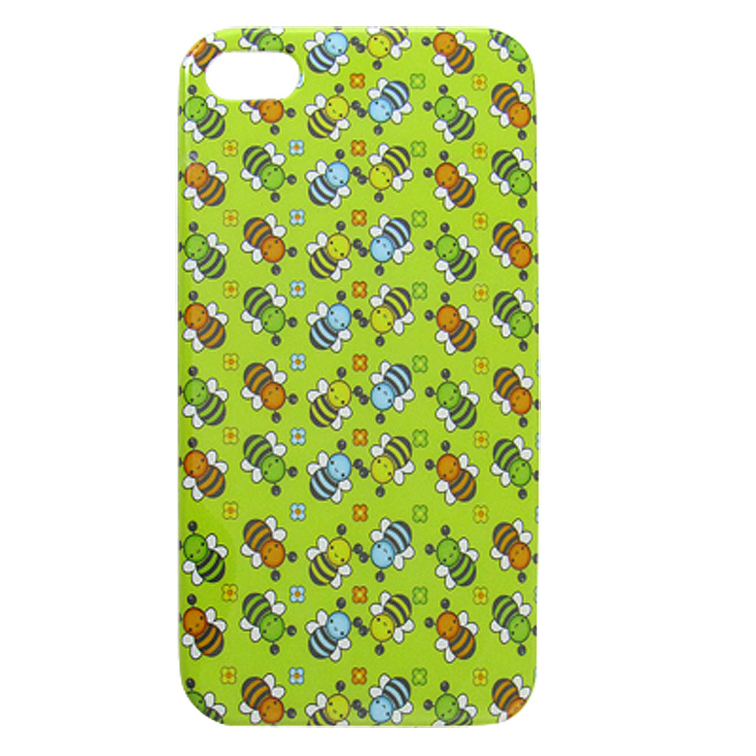 Cartoon Bee Pattern IMD Hard Back Case Cover Green for iPhone 4 4G 4S